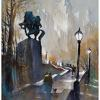 steps to simon bolivar plaza by Thomas  W. Schaller Watercolor ~ 24 inches x 18 inches