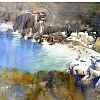 swimming cove - greece by Thomas  W. Schaller Watercolor ~ 18 inches x 24 inches