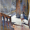 steps of rocamadour I by Thomas  W. Schaller Watercolor ~ 24 inches x 18 inches