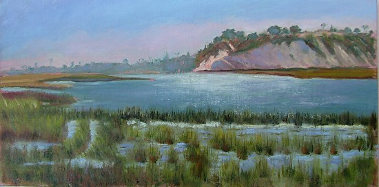 Evening Tide Rushing into the Back Bay - Oil