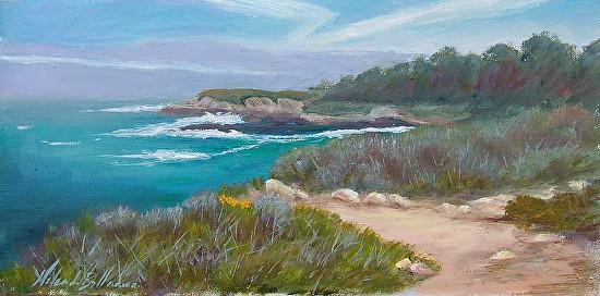 View from China Cove to Carmel - Oil