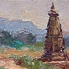 """Looking South, Khajuraho"" by Debra Joyce Dawson Oil ~ 2-3/8"" x 6-1/4"""