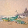 """Beach at Mamallapuram"" by Debra Joyce Dawson Oil ~ 5"" x 7"""