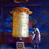 """Spinning the Prayer Wheel, Punaka Dzong"" by Debra Joyce Dawson Oil ~ 14"" x 11"""