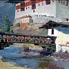 """Old Paro Bridge"" by Debra Joyce Dawson Oil ~ 9"" x 12"""