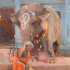 """Lakshmi, Temple Elephant"" by Debra Joyce Dawson Oil ~ 14"" x 11"""