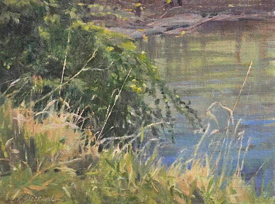River's Edge by Karen Blackwood Oil ~ 9 x -