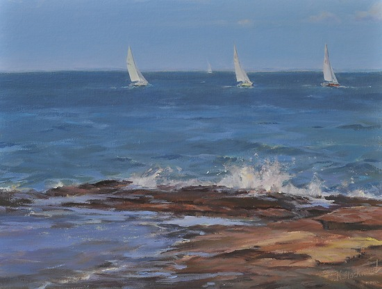 "Sails And Surf by Karen Blackwood Oil ~ 12"" x 16"""