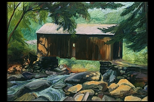 "Covered Bridge by Constance A. Dodge Pastel ~ 26.5"" x 33.5"""