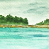Richmond Island and Ram Island, Cape Elizabeth, Maine. ACEO from Kettle Cove
