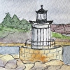 Bug Light, Portland Harbor, Maine. ACEO