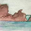 Rodeo Beach 1, Marin Headlands, California. Watercolor ACEO