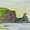 Rodeo Beach 2, Marin Headlands, California. Watercolor, Pen and Ink ACEO