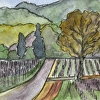 California Painting, Artist Trading Card (ACEO). Pen and Ink Sonoma 14-3