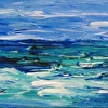 "Essay on the Sea 21 Maine Abstract Seascape Painting 4"" x 12"""