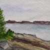 "Pemaquid Maine Painting ""Pemaquid Shore"" ACEO Original Watercolor ACEO 270"