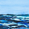 "Seascape Painting, Essay on the Sea 26,  4"" x 4"" x 1.5"", acrylic on panel"
