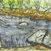 New Hampshire Watercolor Painting Pen and Ink Souhegan River 1