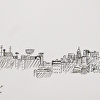 Portland Maine Skyline Drawing Pen and Ink