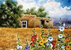 Hollyhocks at  Laguna Pueblo by Michael & Stephen Mccullough Watercolor ~ 23 x 33