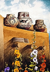 Hollyhocks at Zuni Pueblo by Michael & Stephen Mccullough Watercolor ~ 33 x 23