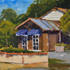 """Awnings"", 10"" x 12"", oil, by CAROLYN HESSE-LOW."