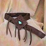 100512A Ostrich & Elk Leather Belt by Deborah & Russell Shamah  ~  x