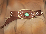 100513 Cinnamon & Sugar Elk Leather Belt by Deborah & Russell Shamah Elkhide Leather ~  x