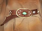 100513 Cinnamon & Sugar Elk Leather Belt by Deborah & Russell Shamah Elkhide Leather ~  x
