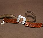 50115 Rendezvous West Marcasite Bracelet by Deborah & Russell Shamah Carved Leather ~  x