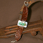 50515 Rendezvous West Mountain Lily and Fern Bracelet by Deborah & Russell Shamah Carved Leather ~  x