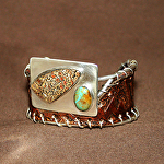 51515 Rendezvous West Native Waves Bracelet by Deborah & Russell Shamah Carved Leather ~  x