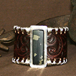 52315 Unfurling Ferns Rendezvous West Bracelet by Deborah & Russell Shamah Carved Leather ~  x