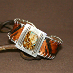 52913 Rendezvous West Men's Bracelet by Deborah & Russell Shamah Carved Leather ~  x