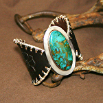 53413 Rendezvous West Rocky Mountain Wild Rose Butterfly Bracelet by Deborah & Russell Shamah Carved Leather ~  x