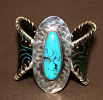 53513 Nacozari Turquoise Butterfly Bracelet by Deborah & Russell Shamah Carved Leather ~  x