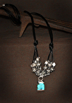 70215 Rendezvous West Cluster of Silver & Turquoise Necklace by Deborah & Russell Shamah  ~  x