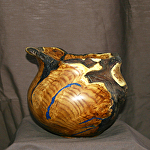 30715 Rendezvous West Russian Olive Burl Hollow Vessel by Deborah & Russell Shamah  ~  x 7 1/2""
