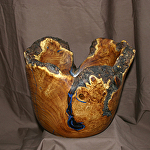 30815 Rendezvous West Natural Edge Russian Olive Burl Hollow Vessel by Deborah & Russell Shamah Wood ~  x 12""