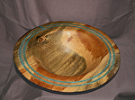 37413 Rendezvous West Blue Stained Pine Bowl by Deborah & Russell Shamah Wood ~  x 11""