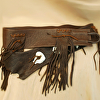 100415 Fringed Medallion Elk Leather Belt