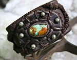 """50109 ~ Number 8 Turquoise Shield by Deborah & Russell Shamah Elkhide Leather ~ 1 3/4"""" x 9 1/2"""""""