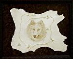 "90306 ~ Wolf by Deborah & Russell Shamah Pyrography ~ 23.5"" x 29.5 """