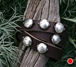 "#51710 Silver Triple Wrap by Deborah & Russell Shamah Leather ~ 1/2"" x Adjustable"