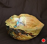 31511~ Oak Burl withTurquoise Inlay by Deborah & Russell Shamah Wood ~ 3.5 x 11