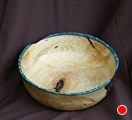 32711~ Pine Burl Cap with Turquoise Rim by Deborah & Russell Shamah  ~ 2.5 x 7.25