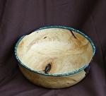 32711~ Pine Burl Cap with Turquoise Rim by Deborah & Russell Shamah  ~ 2.5 x 7.25