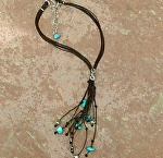 #70109 Rendezvous West Turquoise Nugget Lariat Necklace by Deborah & Russell Shamah  ~  x