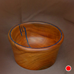 "30711~ Apricot with Blue Mineral Inlay by Deborah & Russell Shamah  ~ 2.5"" x 4.75"""