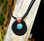 70511~ Buffalo Horn with Turquoise by Deborah & Russell Shamah  ~  x